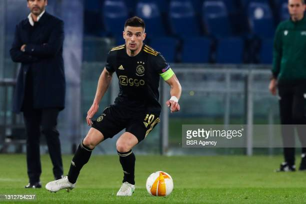 Dusan Tadic of Ajax during the UEFA Europa League Quarter Final: Leg Two match between AS Roma and Ajax at Stadio Olimpico on April 15, 2021 in Roma,...
