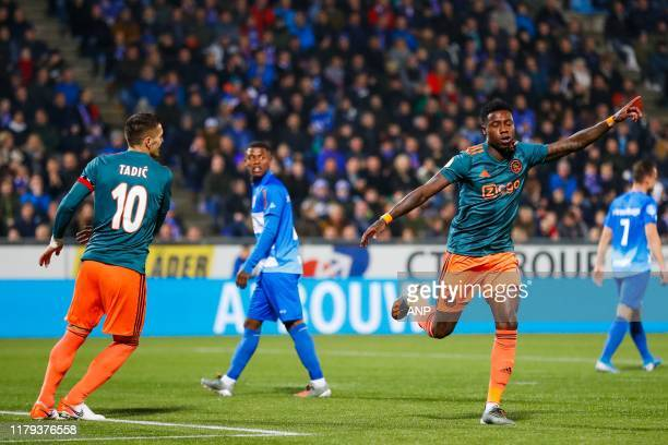 Dusan Tadic of Ajax, Kenneth Paal of PEC Zwolle, Quincy Promes of Ajax during the Dutch Eredivisie match between PEC Zwolle and Ajax Amsterdam at the...