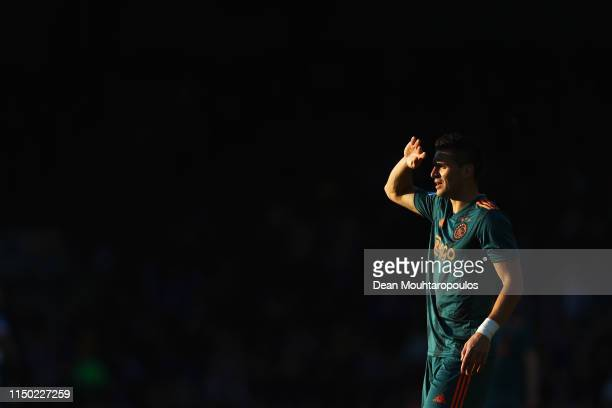 Dusan Tadic of Ajax looks on during the Eredivisie match between De Graafschap and Ajax at Stadion De Vijverberg on May 15 2019 in Doetinchem...