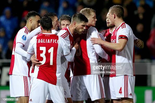 Dusan Tadic Of Ajax, Noussair Mazraoui Of Ajax, David