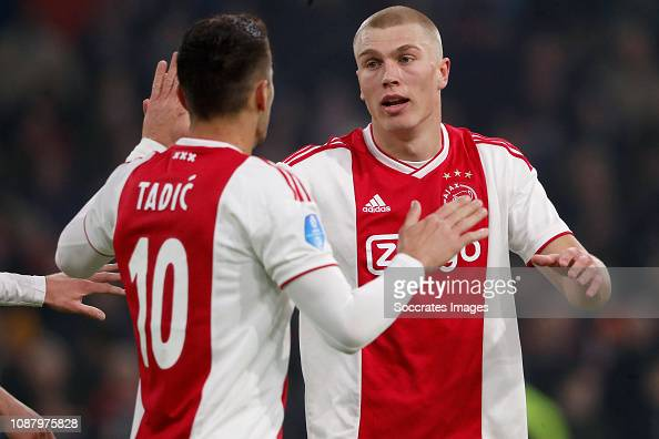 Dusan Tadic Of Ajax, Rasmus Kristensen Of Ajax Celebrate 3