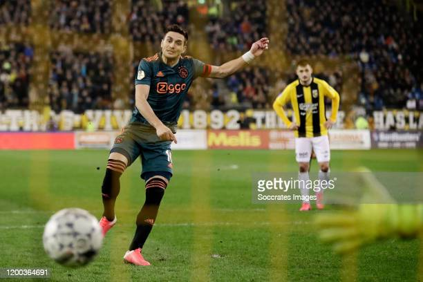 Dusan Tadic of Ajax scores the third goal to make it 3-0 during the Dutch KNVB Beker match between Vitesse v Ajax at the GelreDome on February 12,...