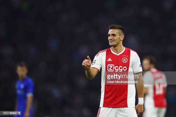 Dusan Tadic of Ajax signals with a thumbs up to a team mate during the UEFA Champions League Playoff 1st leg match between Ajax and Dynamo Kiev held...