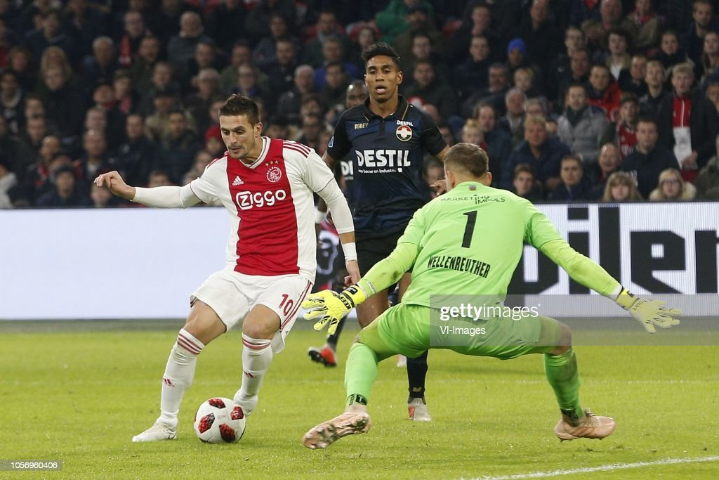 , Dusan Tadic Of Ajax, Timon Wellenreuther Of Willem II