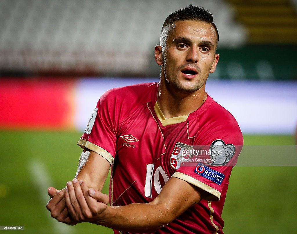 Dusan Tadic (C) of Serbia celebrates scoring a goal during the FIFA 2018 World Cup Qualifier between Serbia and Ireland at stadium Rajko Mitic on September 5, 2016 in Belgrade.