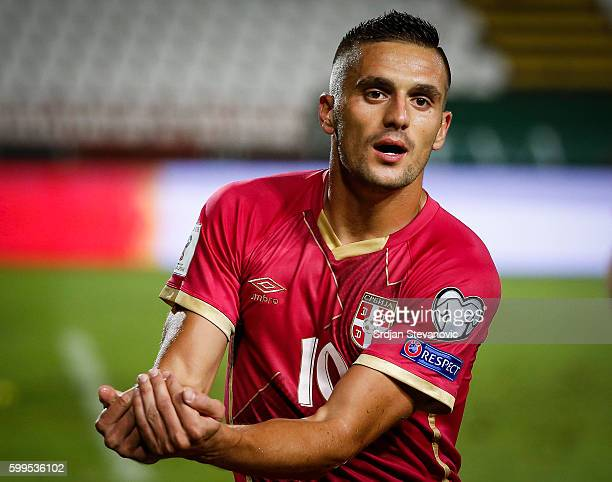 Dusan Tadic of Serbia celebrates scoring a goal during the FIFA 2018 World Cup Qualifier between Serbia and Ireland at stadium Rajko Mitic on...