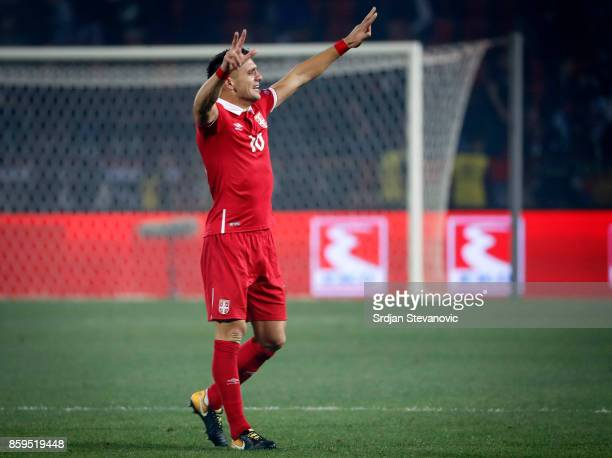 Dusan Tadic of Serbia celebrates the victory after the FIFA 2018 World Cup Qualifier between Serbia and Georgia at stadium Rajko Mitic on October 9...