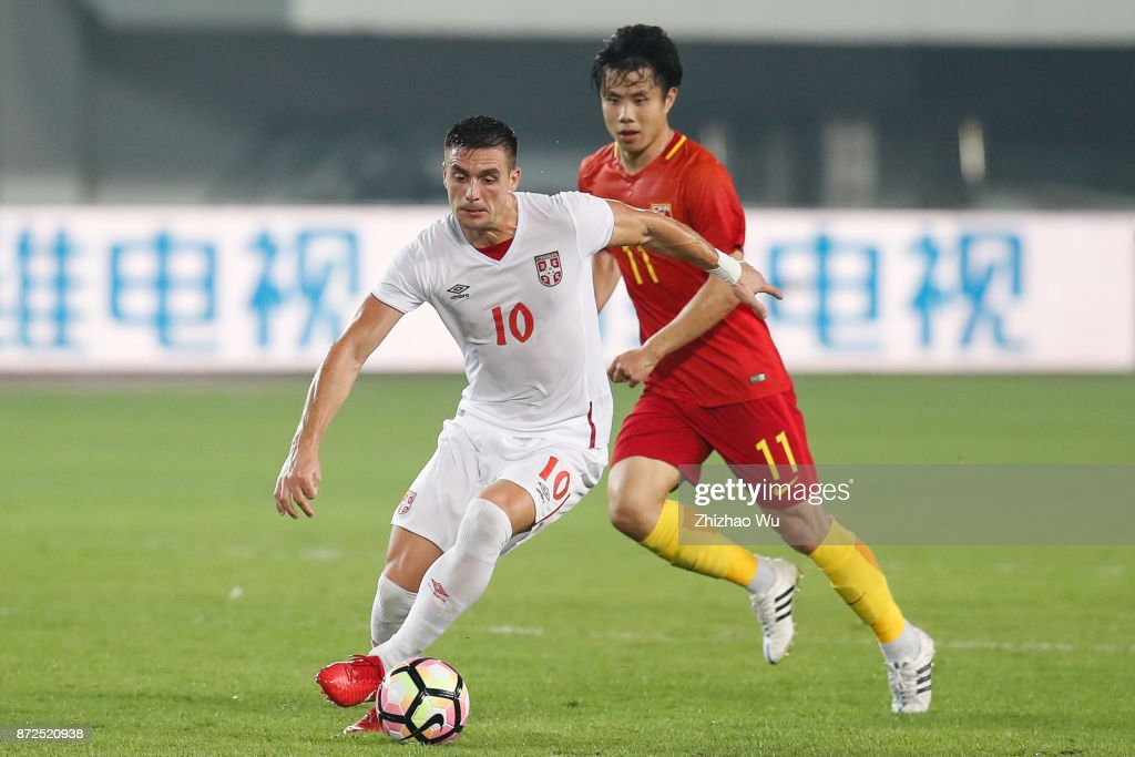 Dusan Tadic of Serbia controls the ball during International Friendly Football Match between China and Serbia at Tianhe Stadium on November 10, 2017 in Guangzhou, China.
