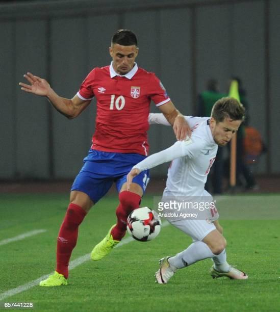 Dusan Tadic of Serbia in action during the 2018 FIFA World Cup Qualification match between Georgia and Serbia in Tbilisi Georgia on March 24 2017
