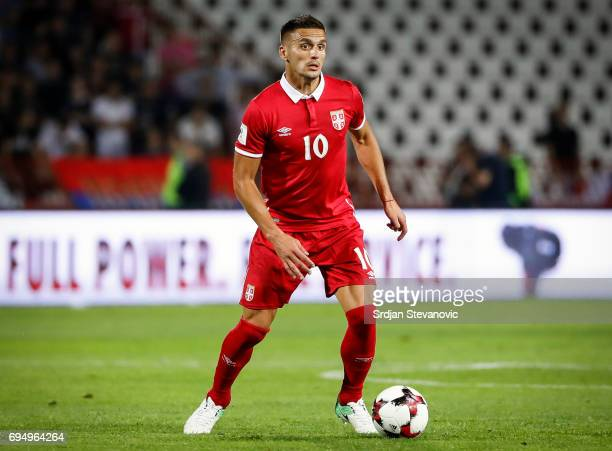 Dusan Tadic of Serbia in action during the FIFA 2018 World Cup Qualifier between Serbia and Wales at stadium Rajko Mitic on June 11 2017 in Belgrade...