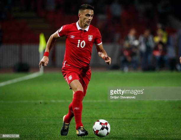 Dusan Tadic of Serbia in action during the FIFA 2018 World Cup Qualifier between Serbia and Georgia at stadium Rajko Mitic on October 9 2017 in...