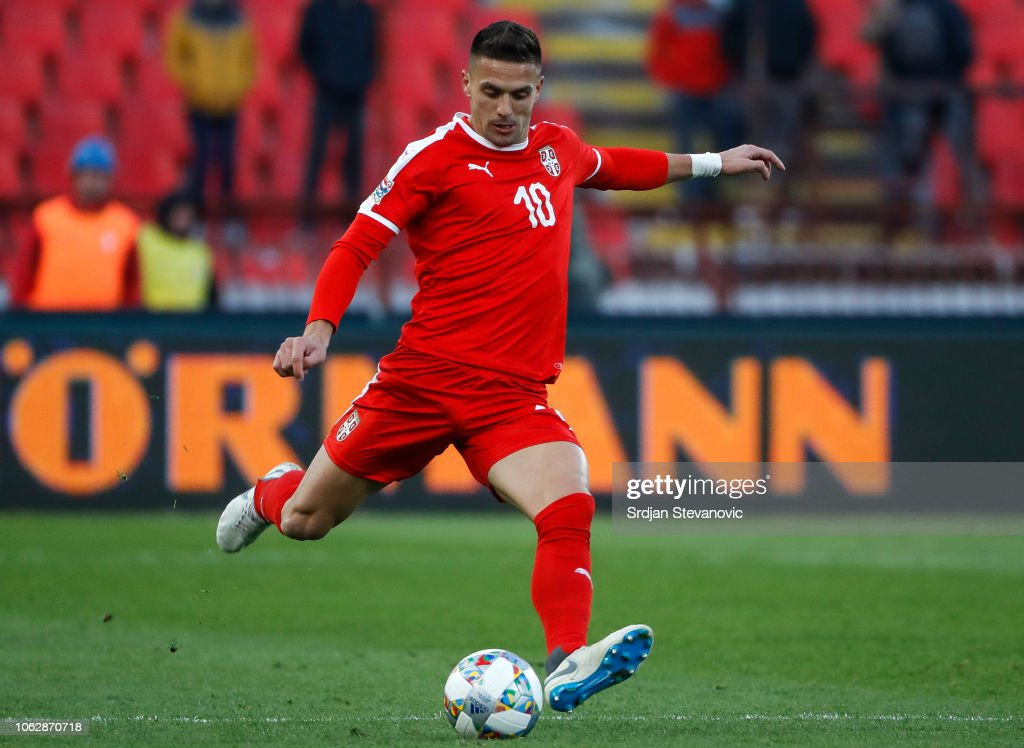 Dusan Tadic Of Serbia In Action During The UEFA Nations