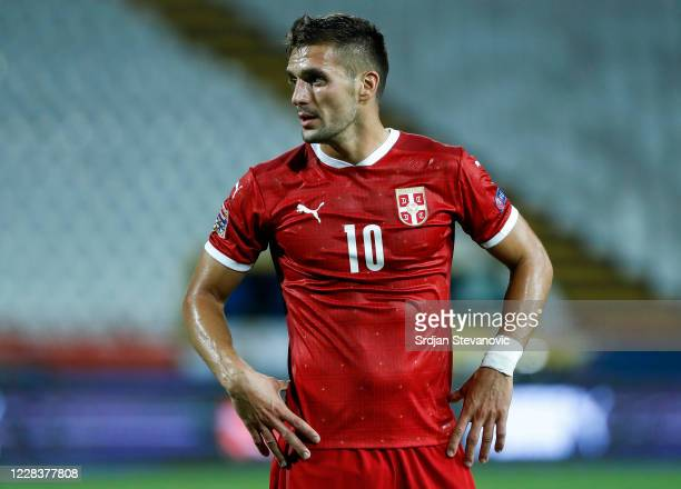Dusan Tadic of Serbia looks on during the UEFA Nations League group stage match between Serbia and Turkey at Rajko Mitic Stadium on September 6, 2020...