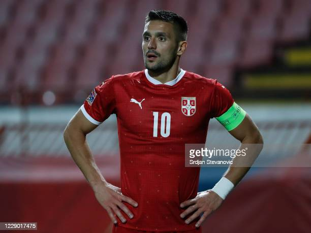Dusan Tadic of Serbia looks on during the UEFA Nations League group stage match between Serbia and Hungary at Rajko Mitic Stadium on October 11, 2020...