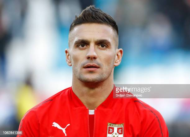 Dusan Tadic of Serbia looks on prior to the UEFA Nations League C group four match between Serbia and Montenegro at stadium Rajko Mitic on November...