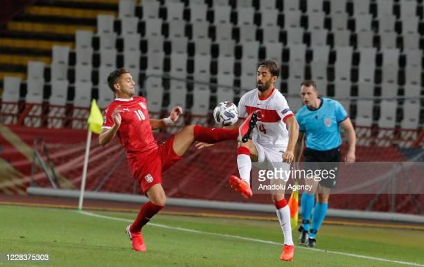 Dusan Tadic of Serbia national football team in action against Mahmut Tekdemir of Turkey national football team during the UEFA Nations League B -...