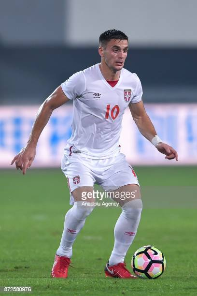 Dusan Tadic of Serbia National Team in action during the International football Match between China and Serbia at the Tianhe Sport Center on November...