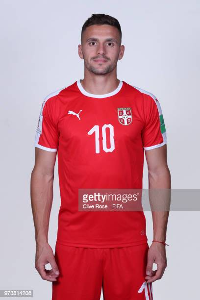 Dusan Tadic of Serbia poses for a portrait during the official FIFA World Cup 2018 portrait session at the Team Hotel on June 12 2018 in Kaliningrad...