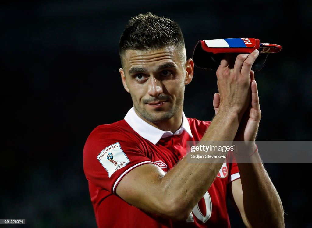 Dusan Tadic of Serbia reacts after the FIFA 2018 World Cup Qualifier between Serbia and Wales at stadium Rajko Mitic on June 11, 2017 in Belgrade, Serbia.
