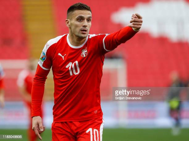Dusan Tadic of Serbia reacts during the UEFA Euro 2020 Qualifier between Serbia and Ukraine on November 17, 2019 in Belgrade, Serbia.