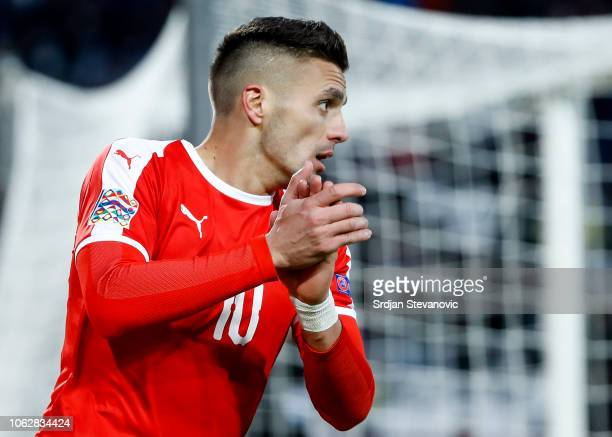 Dusan Tadic of Serbia reacts during the UEFA Nations League C group four match between Serbia and Montenegro at stadium Rajko Mitic on November 17...