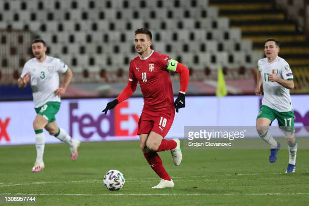 Dusan Tadic of Serbia runs with the ball during the FIFA World Cup 2022 Qatar qualifying match between Serbia and Republic of Ireland on March 24,...