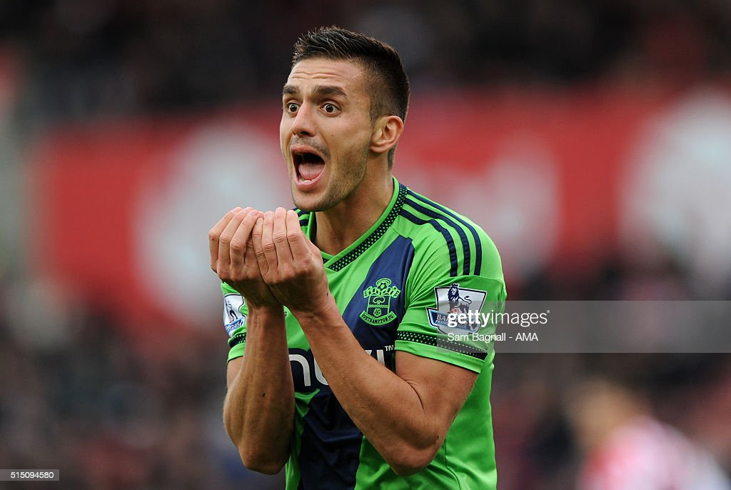 Dusan Tadic of Southampton appeals for a penalty during the Barclays Premier League match between Stoke City and Southampton at Britannia Stadium on March 12, 2016 in Stoke on Trent, England.