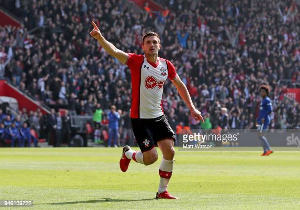 Dusan Tadic of Southampton celebrates after opening the scoring during the Premier League match between Southampton and Chelsea at St Mary's Stadium...