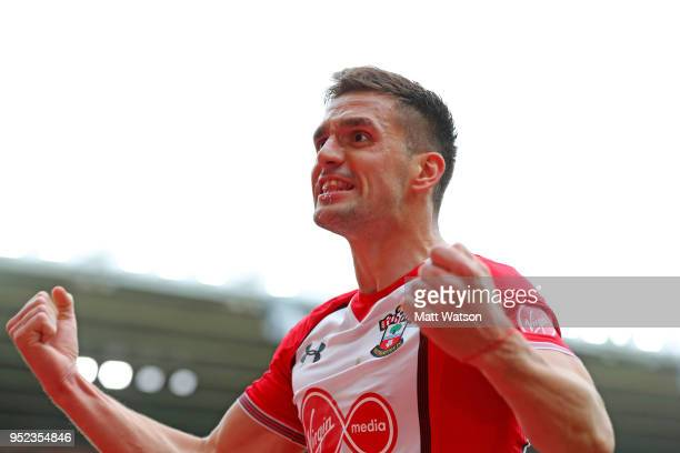 Dusan Tadic of Southampton celebrates after putting his team 10 up during the Premier League match between Southampton and AFC Bournemouth at St...
