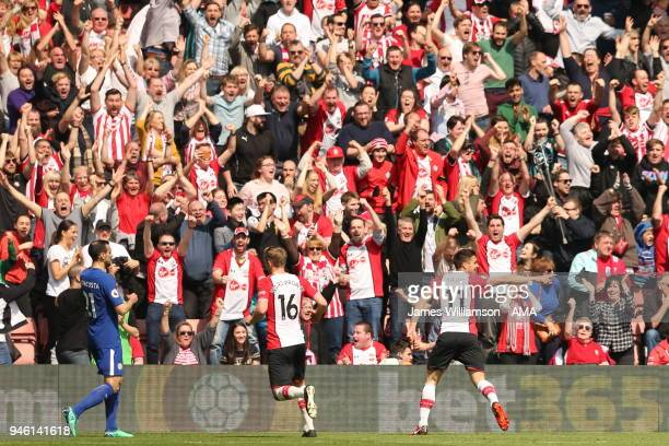 Dusan Tadic of Southampton celebrates after scoring a goal to make it 1-0 during the Premier League match between Southampton and Chelsea at St...