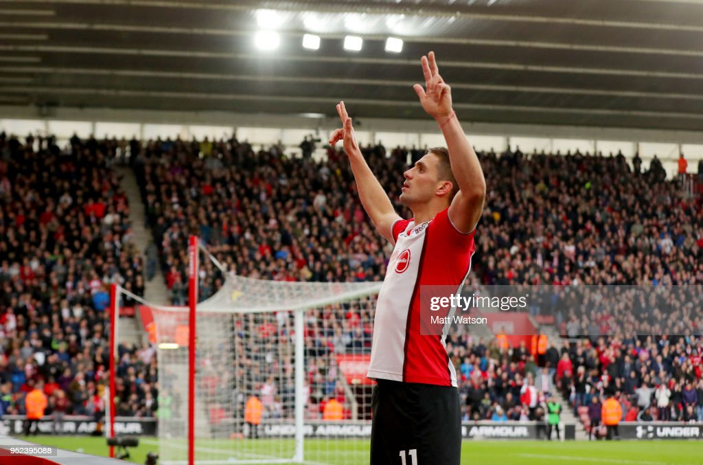 Dusan Tadic of Southampton celebrates after scoring his second to make it 2-1 to Southampton during the Premier League match between Southampton and AFC Bournemouth at St Mary's Stadium on April 28, 2018 in Southampton, England.