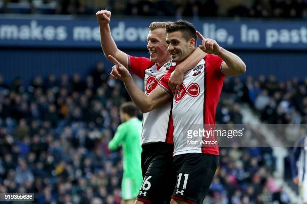 Dusan Tadic of Southampton celebrates after scoring his teams second goal qith James WardProwse during the Emirates FA Cup fifth round match between...