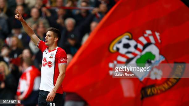 Dusan Tadic of Southampton celebrates scoring his side's first goal during the Premier League match between Southampton and AFC Bournemouth at St...