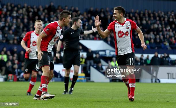 Dusan Tadic of Southampton celebrates scoring his teams second goal with team mate Guido Carrillo during the Emirates FA Cup fifth round match...