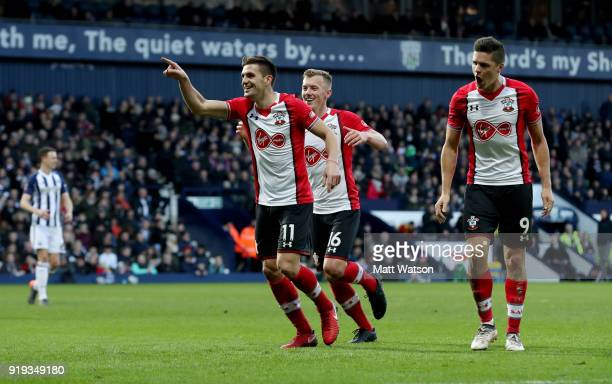 Dusan Tadic of Southampton celebrates scoring his team's second goal with team mate Guido Carrillo and James WardProwse during the Emirates FA Cup...