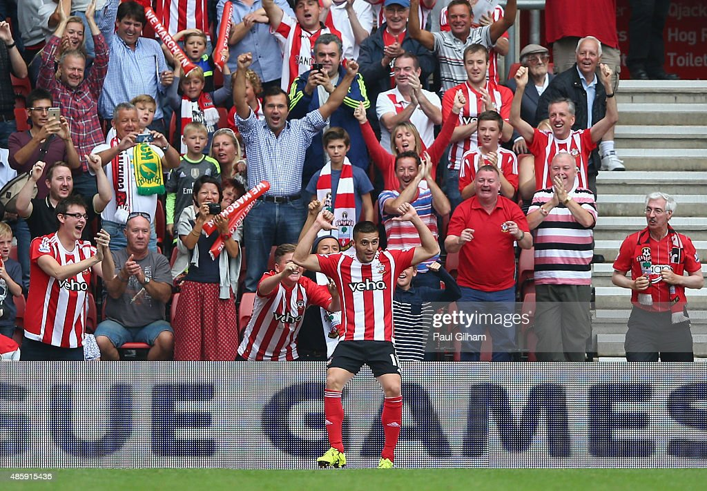 Dusan Tadic of Southampton celebrates scoring the third goal for Southampton during the Barclays Premier League match between Southampton and Norwich City on August 30, 2015 in Southampton, United Kingdom.