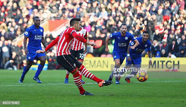 Dusan Tadic of Southampton converts the penalty to score his team's third goal during the Premier League match between Southampton and Leicester City...