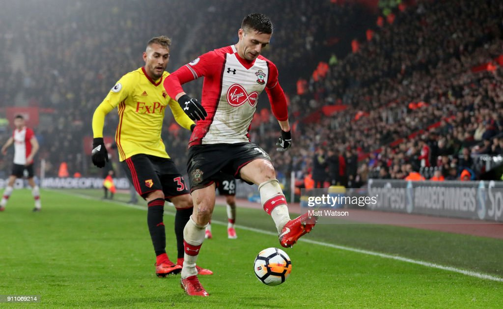 Dusan Tadic of Southampton FC during the FA Cup 4th round match between Southampton FC and Watford, at St Mary's Stadium on January 27, 2018 in Southampton, England.