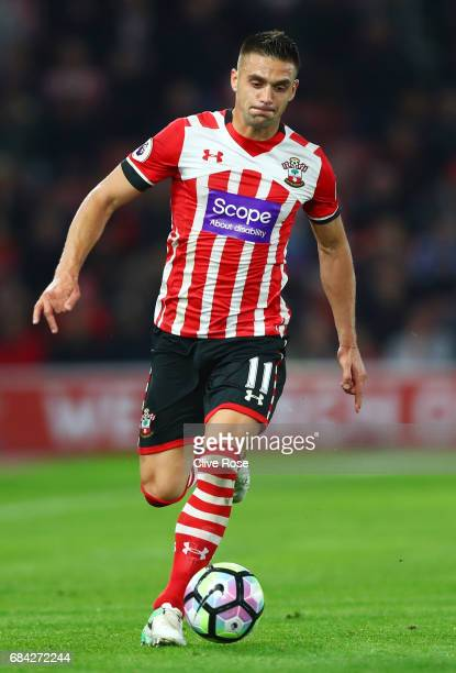 Dusan Tadic of Southampton in action during the Premier League match between Southampton and Manchester United at St Mary's Stadium on May 17 2017 in...