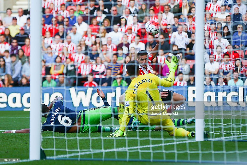 Dusan Tadic of Southampton scores his team's second goal during the Barclays Premier League match between Southampton and Swansea City at St Mary's Stadium on September 26, 2015 in Southampton, United Kingdom.