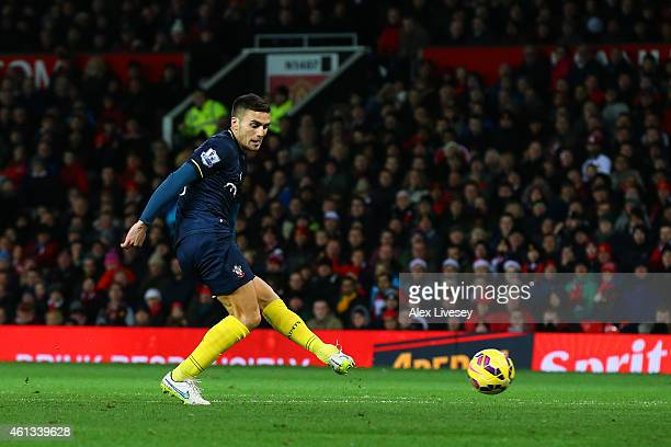 Dusan Tadic of Southampton scores the opening goal during the Barclays Premier League match between Manchester United and Southampton at Old Trafford...