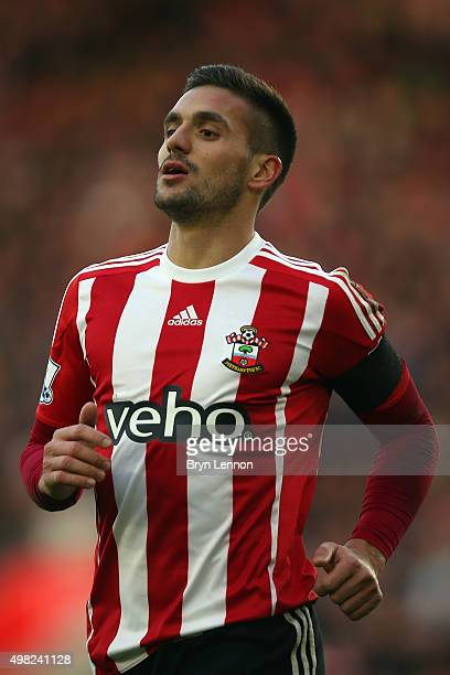 Dusan Tadic of Southampton wears a black arm band to honour those killed in last week's Paris terrorist attacks during the Barclays Premier League...
