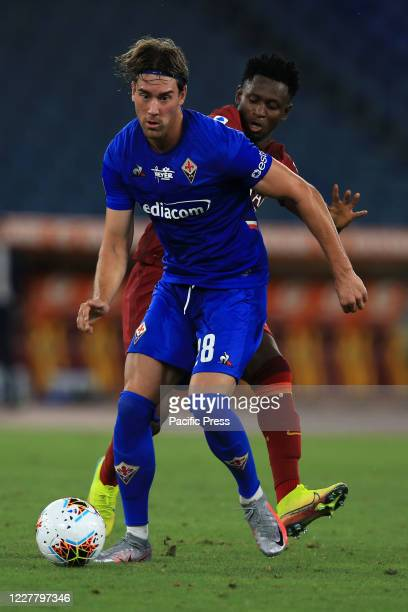 Dusan Vlahovic in action during the Serie A Tim match between AS Roma and ACF Fiorentina at Stadio Olimpico in Rome. AS Roma beat ACF Fiorentina by...