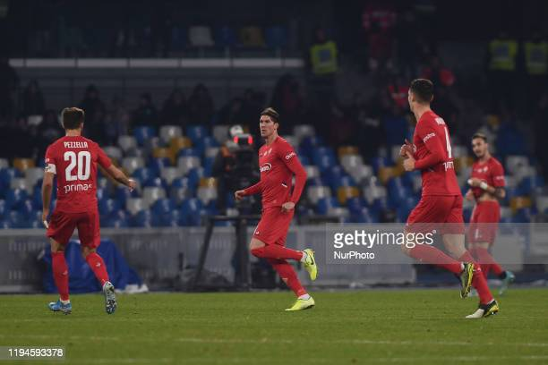 Dusan Vlahovic of ACF Fiorentina celebrates after scoring during the Serie A match between SSC Napoli and ACF Fiorentina at Stadio San Paolo Naples...