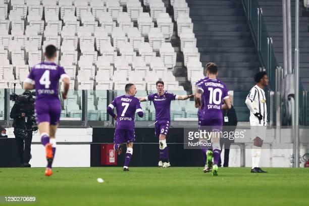 Dusan Vlahovic of ACF Fiorentina celebrates after scoring during the Serie A football match between Juventus FC and ACF Fiorentina at Allianz Stadium...