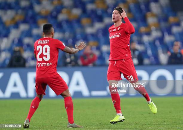 Dusan Vlahovic of ACF Fiorentina celebrates after scoring his goal 0-2 with his team mate Dalbert Henrique during the Serie A match between SSC...