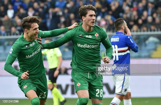 Dusan Vlahovic of ACF Fiorentina celebrates with teammate Federico Chiesa after scoring a penalty to bring the score to 02 during the Serie A match...