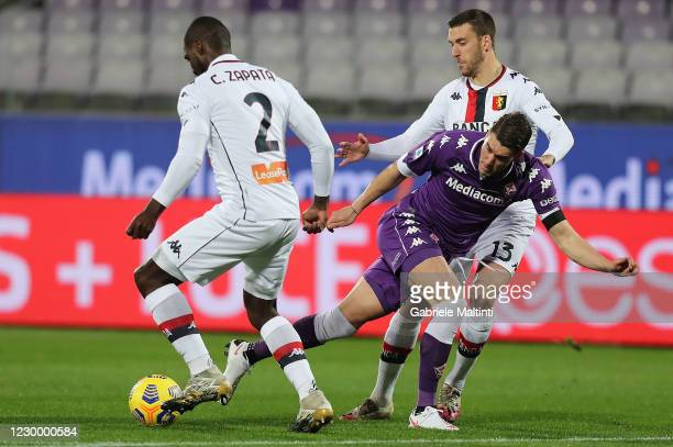 Dusan Vlahovic of ACF Fiorentina in action during the Serie A match between ACF Fiorentina and Genoa CFC at Stadio Artemio Franchi on December 7,...