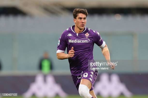 Dusan Vlahovic of ACF Fiorentina in action during the Serie A match between ACF Fiorentina and Bologna FC at Stadio Artemio Franchi on January 3,...