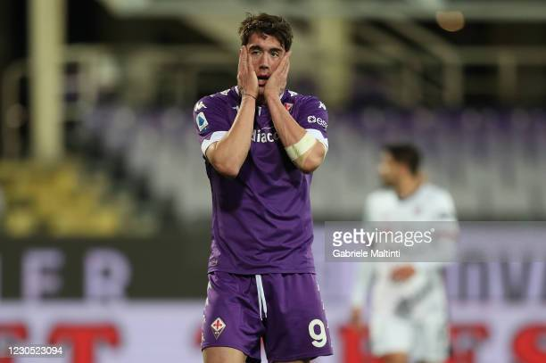 Dusan Vlahovic of ACF Fiorentina reacts during the Serie A match between ACF Fiorentina and Cagliari Calcio at Stadio Artemio Franchi on January 10,...